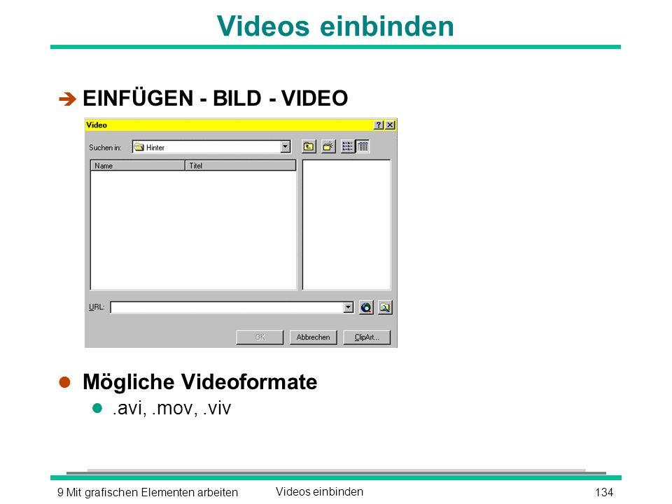 1349 Mit grafischen Elementen arbeitenVideos einbinden è EINFÜGEN - BILD - VIDEO l Mögliche Videoformate l.avi,.mov,.viv