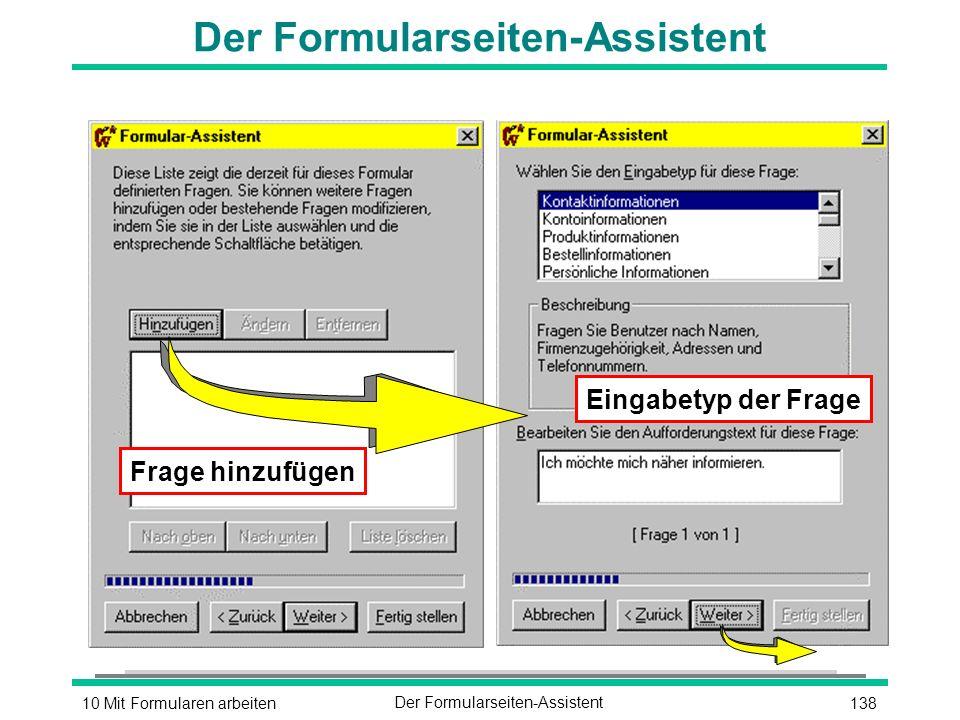 13810 Mit Formularen arbeitenDer Formularseiten-Assistent Frage hinzufügen Eingabetyp der Frage