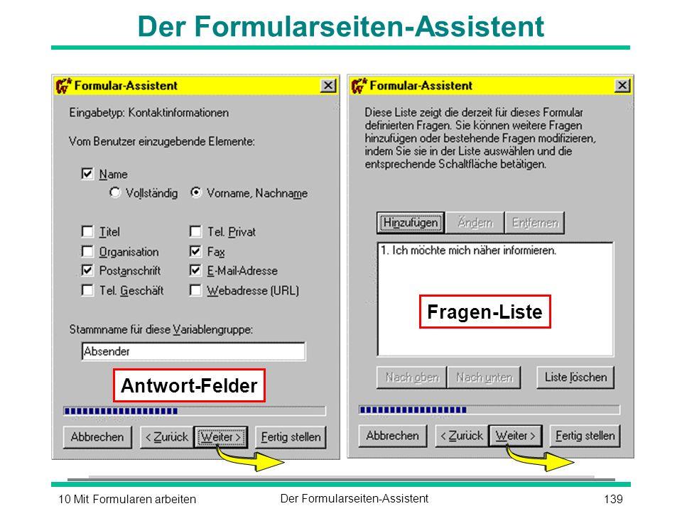 13910 Mit Formularen arbeitenDer Formularseiten-Assistent Antwort-Felder Fragen-Liste