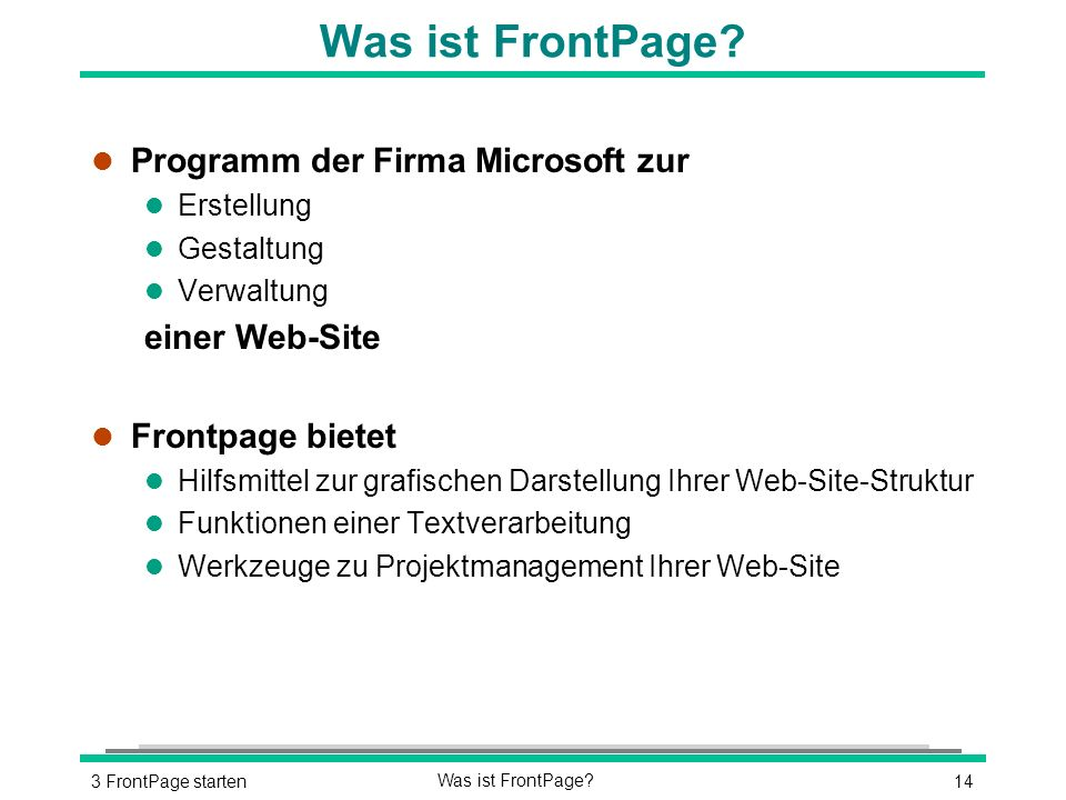 143 FrontPage startenWas ist FrontPage.