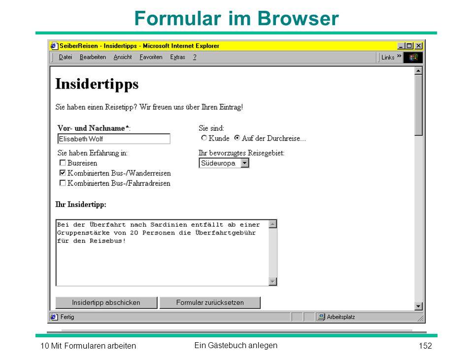 15210 Mit Formularen arbeitenEin Gästebuch anlegen Formular im Browser
