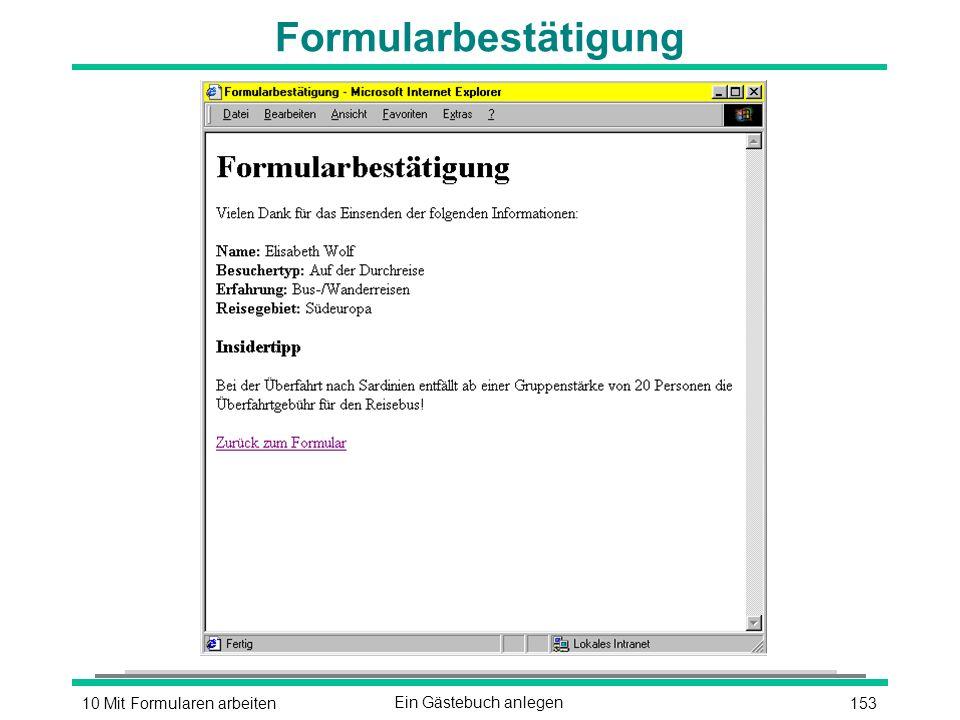 15310 Mit Formularen arbeitenEin Gästebuch anlegen Formularbestätigung