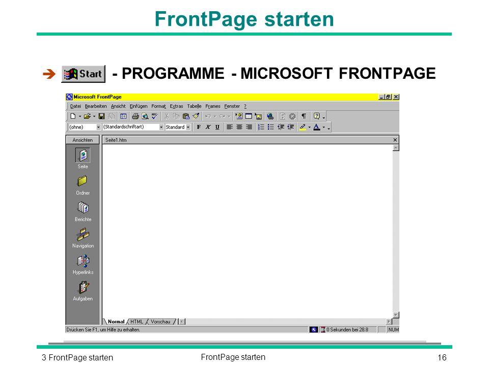163 FrontPage startenFrontPage starten è - PROGRAMME - MICROSOFT FRONTPAGE