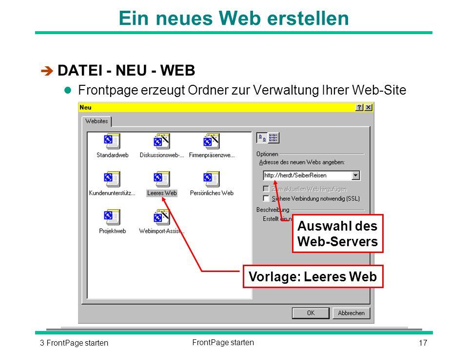 173 FrontPage startenFrontPage starten Ein neues Web erstellen è DATEI - NEU - WEB l Frontpage erzeugt Ordner zur Verwaltung Ihrer Web-Site Vorlage: Leeres Web Auswahl des Web-Servers