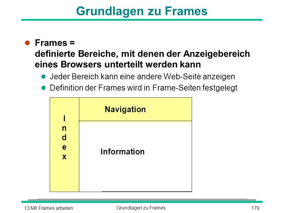 17913 Mit Frames arbeitenGrundlagen zu Frames l Frames = definierte Bereiche, mit denen der Anzeigebereich eines Browsers unterteilt werden kann l Jeder Bereich kann eine andere Web-Seite anzeigen l Definition der Frames wird in Frame-Seiten festgelegt IndexIndex Navigation Information