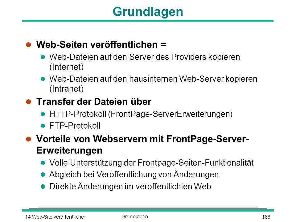 18814 Web-Site veröffentlichenGrundlagen l Web-Seiten veröffentlichen = l Web-Dateien auf den Server des Providers kopieren (Internet) l Web-Dateien auf den hausinternen Web-Server kopieren (Intranet) l Transfer der Dateien über l HTTP-Protokoll (FrontPage-ServerErweiterungen) l FTP-Protokoll l Vorteile von Webservern mit FrontPage-Server- Erweiterungen l Volle Unterstützung der Frontpage-Seiten-Funktionalität l Abgleich bei Veröffentlichung von Änderungen l Direkte Änderungen im veröffentlichten Web
