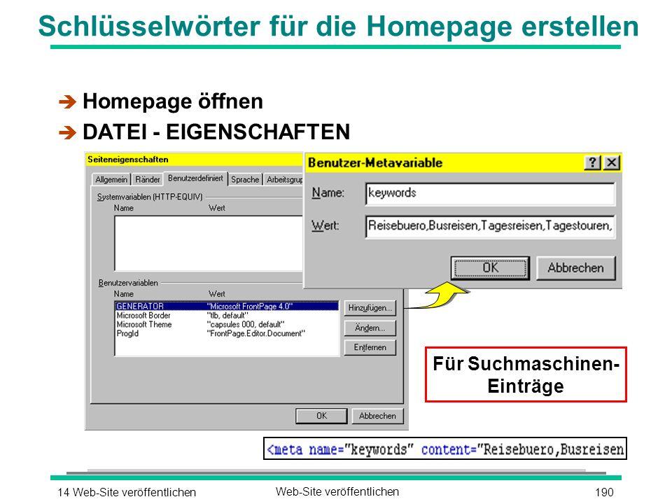 19014 Web-Site veröffentlichenWeb-Site veröffentlichen Schlüsselwörter für die Homepage erstellen è Homepage öffnen è DATEI - EIGENSCHAFTEN Für Suchmaschinen- Einträge