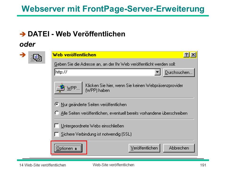 19114 Web-Site veröffentlichenWeb-Site veröffentlichen Webserver mit FrontPage-Server-Erweiterung è DATEI - Web Veröffentlichen oder è