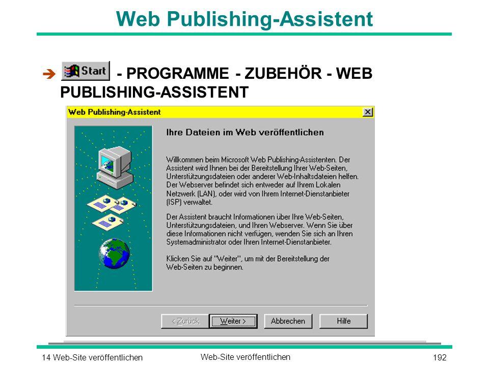 19214 Web-Site veröffentlichenWeb-Site veröffentlichen Web Publishing-Assistent è - PROGRAMME - ZUBEHÖR - WEB PUBLISHING-ASSISTENT