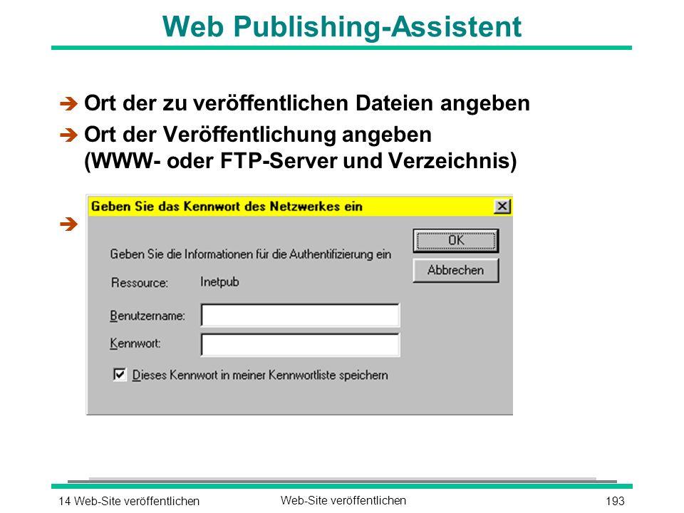 19314 Web-Site veröffentlichenWeb-Site veröffentlichen Web Publishing-Assistent è Ort der zu veröffentlichen Dateien angeben è Ort der Veröffentlichung angeben (WWW- oder FTP-Server und Verzeichnis) è