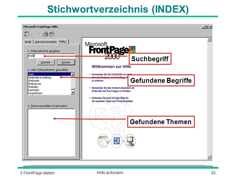 253 FrontPage startenHilfe anfordern Stichwortverzeichnis (INDEX) Gefundene Themen Gefundene Begriffe Suchbegriff