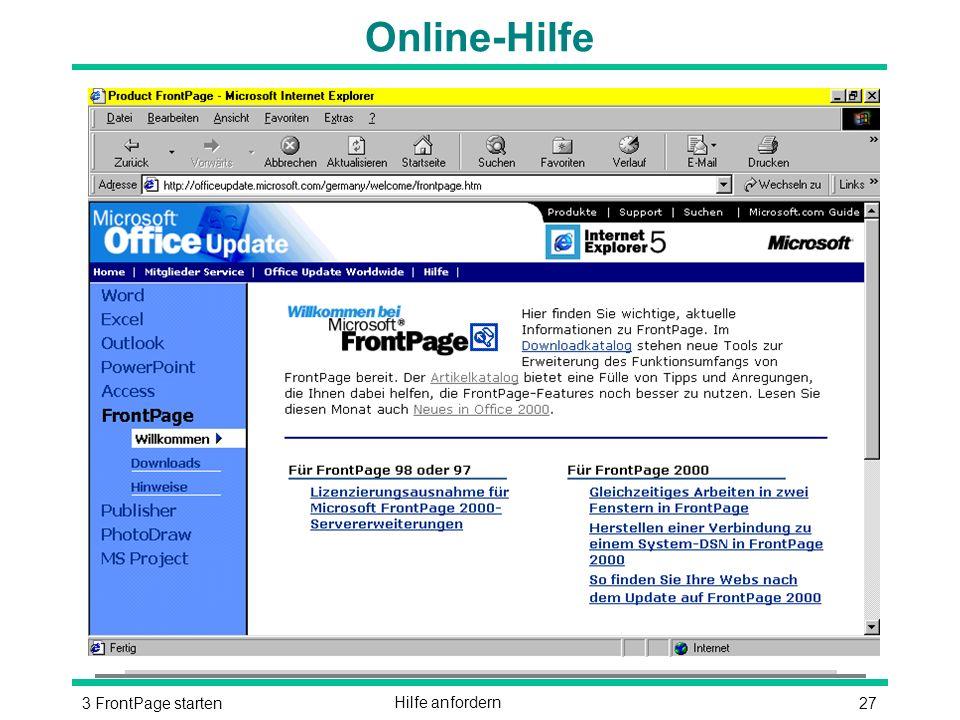 273 FrontPage startenHilfe anfordern Online-Hilfe