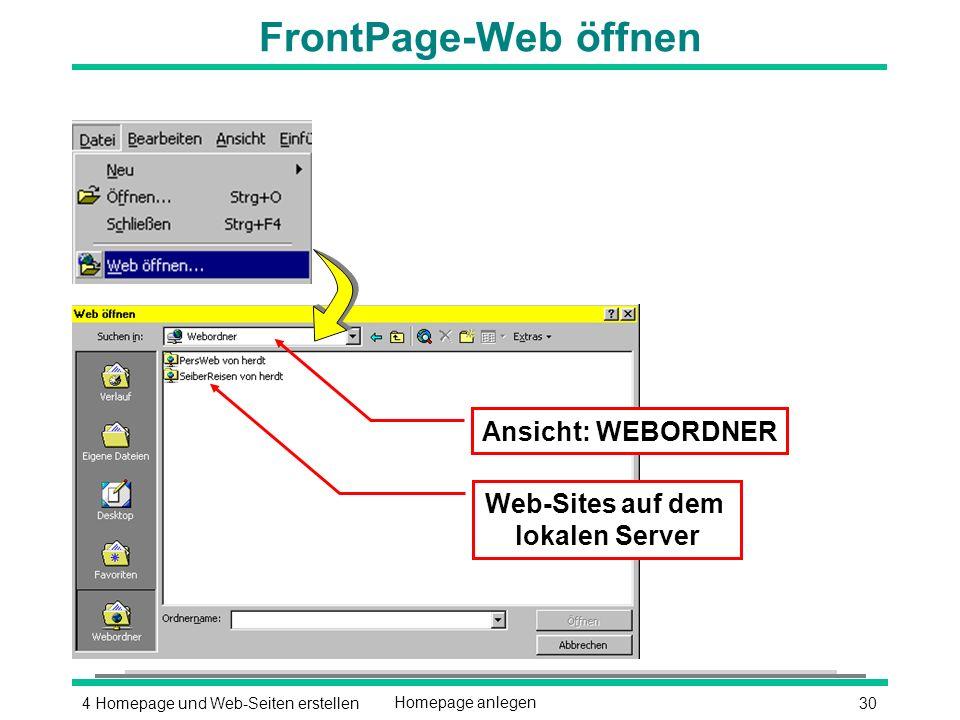 304 Homepage und Web-Seiten erstellenHomepage anlegen Ansicht: WEBORDNER Web-Sites auf dem lokalen Server FrontPage-Web öffnen