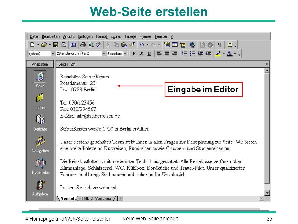 354 Homepage und Web-Seiten erstellenNeue Web-Seite anlegen Web-Seite erstellen Eingabe im Editor