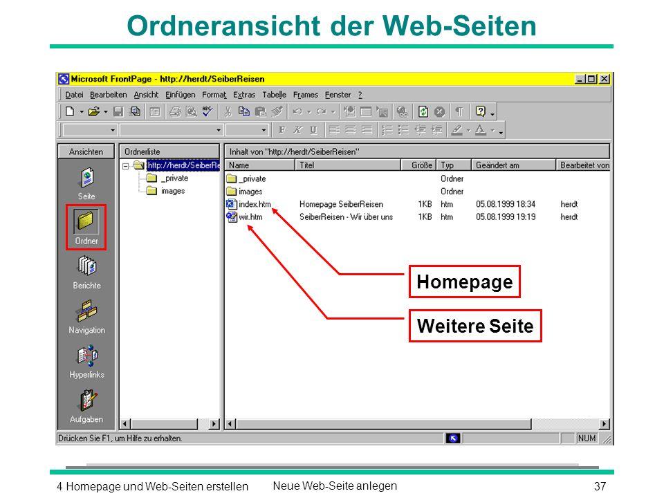 374 Homepage und Web-Seiten erstellenNeue Web-Seite anlegen Ordneransicht der Web-Seiten Weitere Seite Homepage