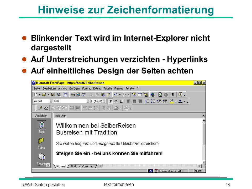 445 Web-Seiten gestaltenText formatieren Hinweise zur Zeichenformatierung l Blinkender Text wird im Internet-Explorer nicht dargestellt l Auf Unterstreichungen verzichten - Hyperlinks l Auf einheitliches Design der Seiten achten