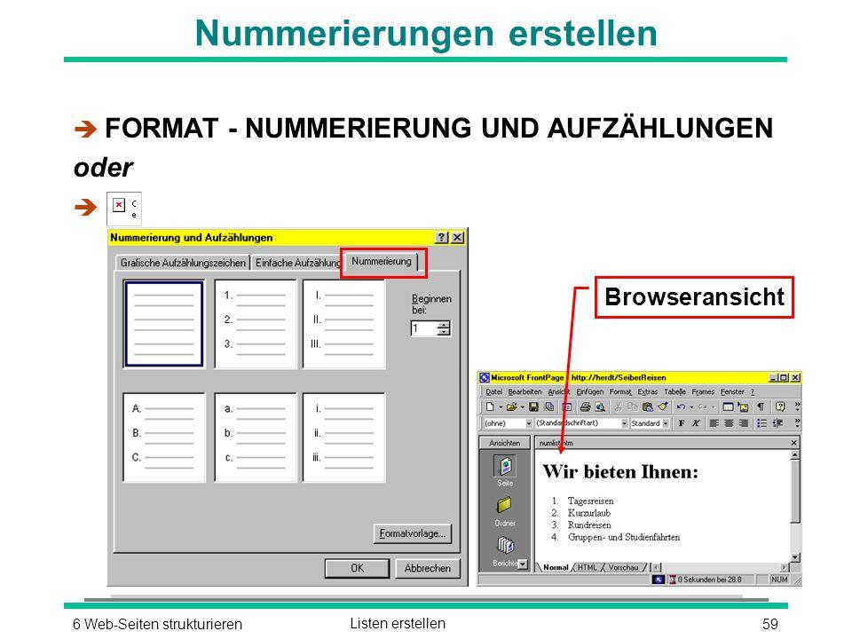 596 Web-Seiten strukturierenListen erstellen Nummerierungen erstellen è FORMAT - NUMMERIERUNG UND AUFZÄHLUNGEN oder è Browseransicht