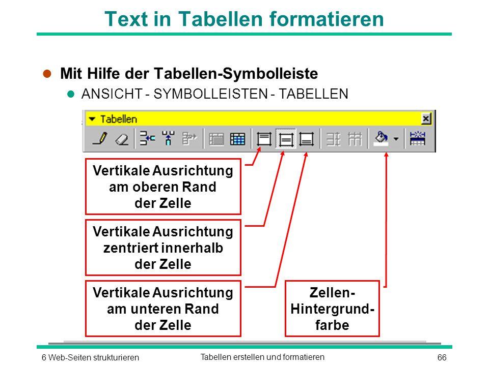 666 Web-Seiten strukturierenTabellen erstellen und formatieren Text in Tabellen formatieren l Mit Hilfe der Tabellen-Symbolleiste l ANSICHT - SYMBOLLEISTEN - TABELLEN Zellen- Hintergrund- farbe Vertikale Ausrichtung zentriert innerhalb der Zelle Vertikale Ausrichtung am oberen Rand der Zelle Vertikale Ausrichtung am unteren Rand der Zelle