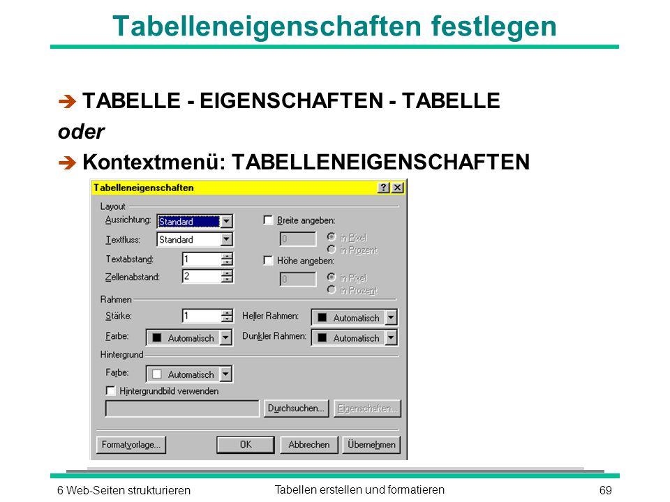 696 Web-Seiten strukturierenTabellen erstellen und formatieren Tabelleneigenschaften festlegen è TABELLE - EIGENSCHAFTEN - TABELLE oder è Kontextmenü: TABELLENEIGENSCHAFTEN