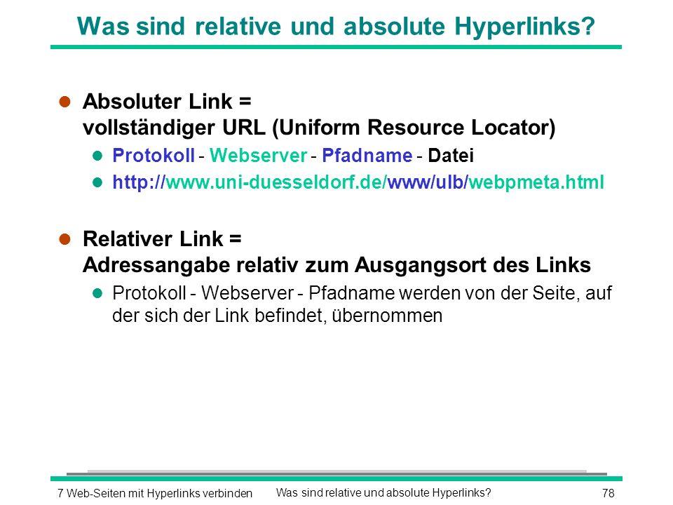 787 Web-Seiten mit Hyperlinks verbindenWas sind relative und absolute Hyperlinks.
