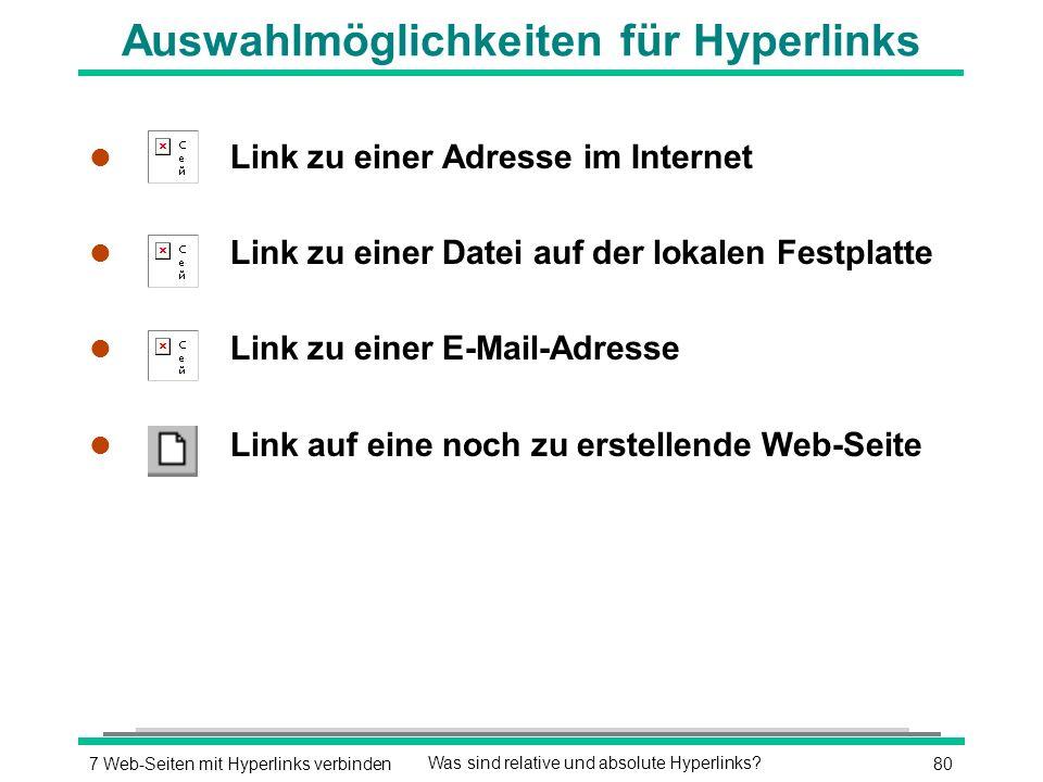 807 Web-Seiten mit Hyperlinks verbindenWas sind relative und absolute Hyperlinks.
