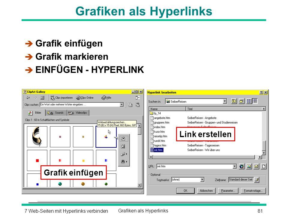 817 Web-Seiten mit Hyperlinks verbindenGrafiken als Hyperlinks è Grafik einfügen è Grafik markieren è EINFÜGEN - HYPERLINK Grafik einfügen Link erstellen