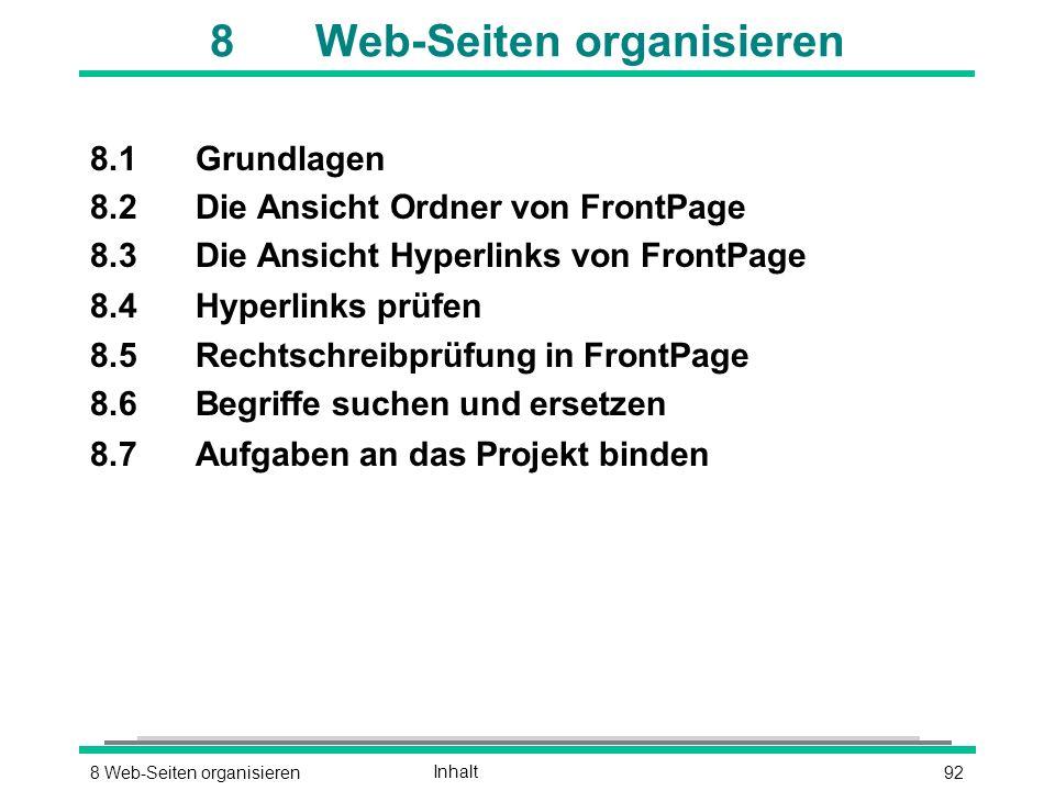 928 Web-Seiten organisierenInhalt 8Web-Seiten organisieren 8.1Grundlagen 8.2Die Ansicht Ordner von FrontPage 8.3Die Ansicht Hyperlinks von FrontPage 8.4Hyperlinks prüfen 8.5Rechtschreibprüfung in FrontPage 8.6Begriffe suchen und ersetzen 8.7Aufgaben an das Projekt binden