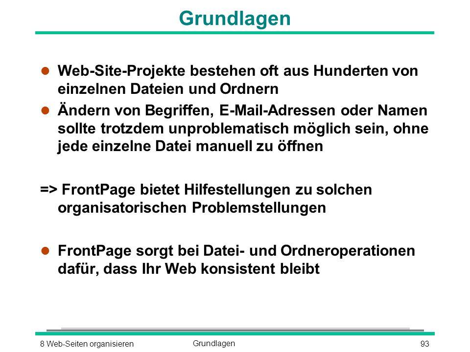938 Web-Seiten organisierenGrundlagen l Web-Site-Projekte bestehen oft aus Hunderten von einzelnen Dateien und Ordnern l Ändern von Begriffen, E-Mail-Adressen oder Namen sollte trotzdem unproblematisch möglich sein, ohne jede einzelne Datei manuell zu öffnen => FrontPage bietet Hilfestellungen zu solchen organisatorischen Problemstellungen l FrontPage sorgt bei Datei- und Ordneroperationen dafür, dass Ihr Web konsistent bleibt
