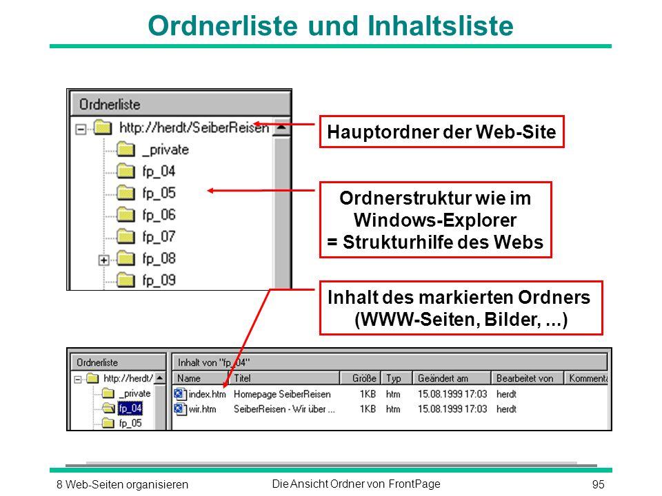 958 Web-Seiten organisierenDie Ansicht Ordner von FrontPage Ordnerliste und Inhaltsliste Hauptordner der Web-Site Ordnerstruktur wie im Windows-Explorer = Strukturhilfe des Webs Inhalt des markierten Ordners (WWW-Seiten, Bilder,...)