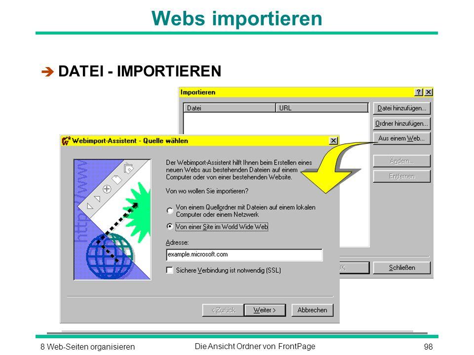 988 Web-Seiten organisierenDie Ansicht Ordner von FrontPage Webs importieren è DATEI - IMPORTIEREN