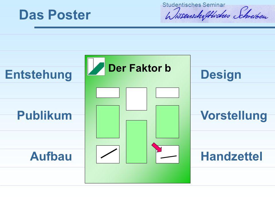 Das Poster Studentisches Seminar Entstehung Publikum Aufbau Design Vorstellung Handzettel Der Faktor b