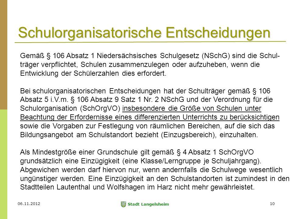 06.11.2012 Stadt Langelsheim 10 Schulorganisatorische Entscheidungen Gemäß § 106 Absatz 1 Niedersächsisches Schulgesetz (NSchG) sind die Schul- träger verpflichtet, Schulen zusammenzulegen oder aufzuheben, wenn die Entwicklung der Schülerzahlen dies erfordert.