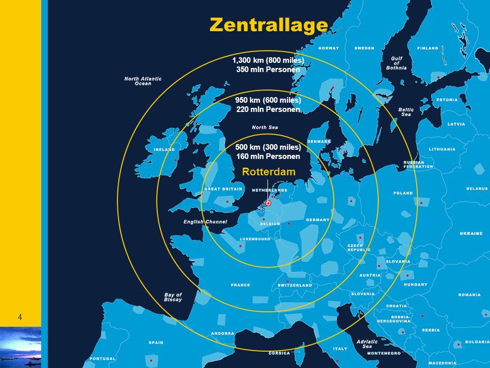 4 Zentrallage Rotterdam 1,300 km (800 miles) 350 mln Personen 950 km (600 miles) 220 mln Personen 500 km (300 miles) 160 mln Personen