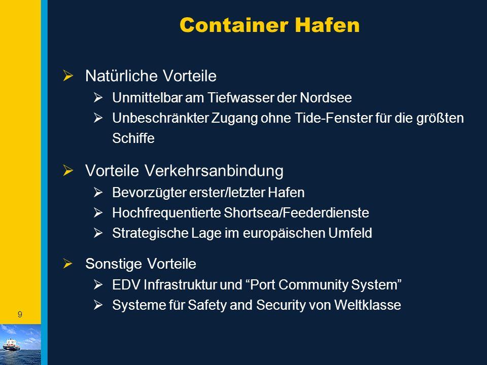 9 Container Hafen  Natürliche Vorteile  Unmittelbar am Tiefwasser der Nordsee  Unbeschränkter Zugang ohne Tide-Fenster für die größten Schiffe  Vo
