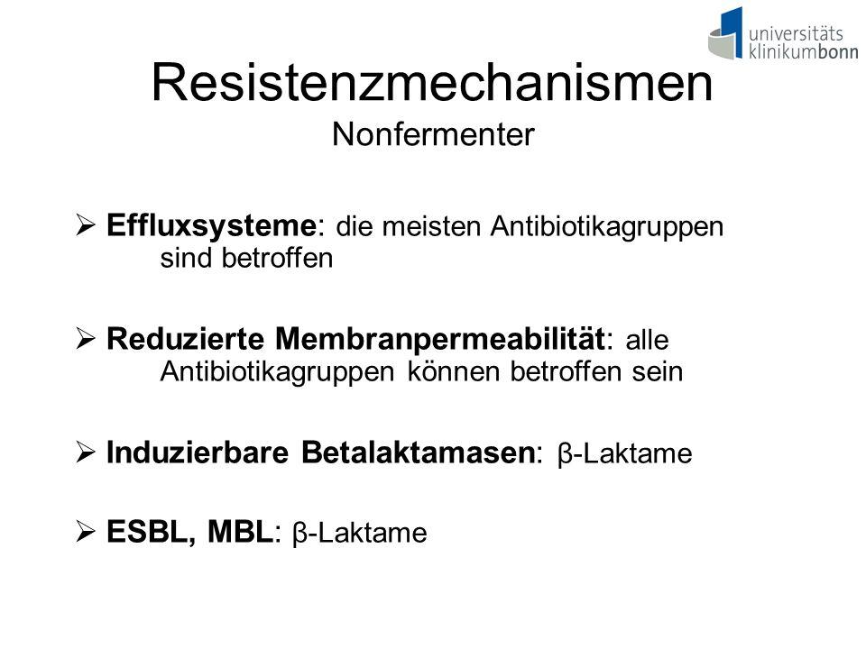  Effluxsysteme: die meisten Antibiotikagruppen sind betroffen  Reduzierte Membranpermeabilität: alle Antibiotikagruppen können betroffen sein  Indu