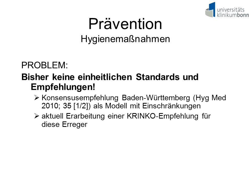 Prävention Hygienemaßnahmen PROBLEM: Bisher keine einheitlichen Standards und Empfehlungen!  Konsensusempfehlung Baden-Württemberg (Hyg Med 2010; 35