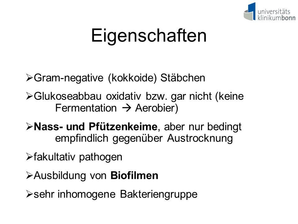 Eigenschaften  Gram-negative (kokkoide) Stäbchen  Glukoseabbau oxidativ bzw. gar nicht (keine Fermentation  Aerobier)  Nass- und Pfützenkeime, abe