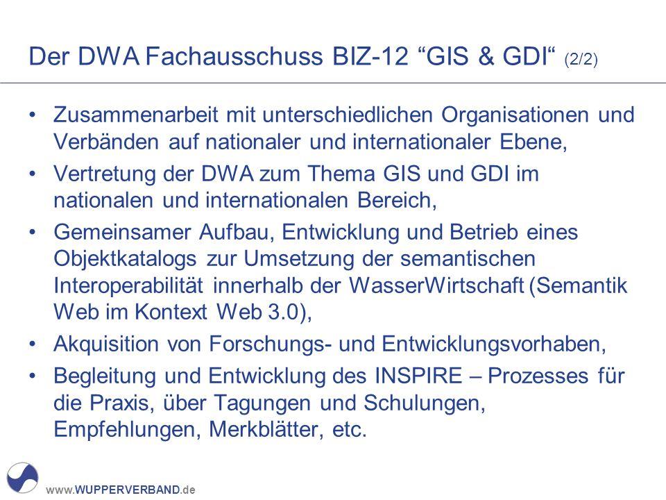 """www.WUPPERVERBAND.de Der DWA Fachausschuss BIZ-12 """"GIS & GDI"""" (2/2) Zusammenarbeit mit unterschiedlichen Organisationen und Verbänden auf nationaler u"""