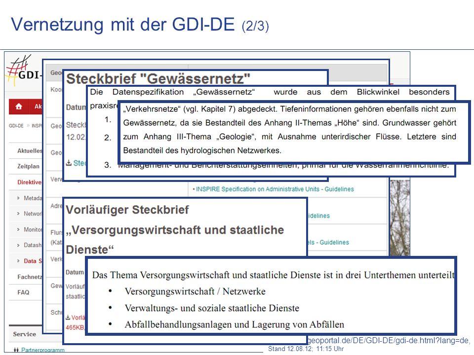 www.WUPPERVERBAND.de Vernetzung mit der GDI-DE (2/3) http://www.geoportal.de/DE/GDI-DE/gdi-de.html?lang=de, Stand 12.08.12; 11:15 Uhr