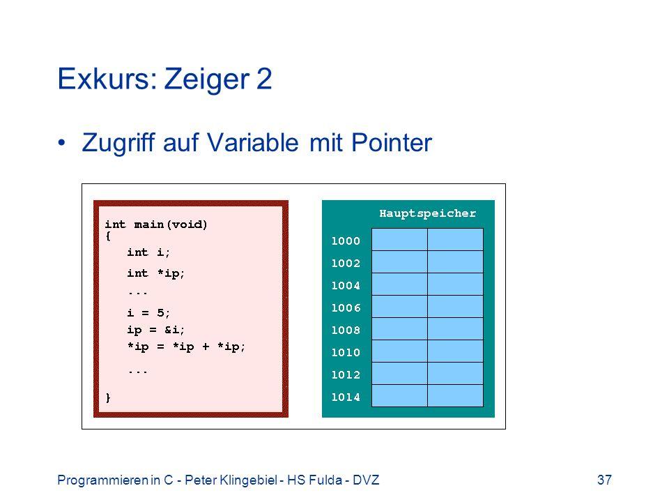 Programmieren in C - Peter Klingebiel - HS Fulda - DVZ38 Exkurs: Zeiger 3 Vor Programmstart