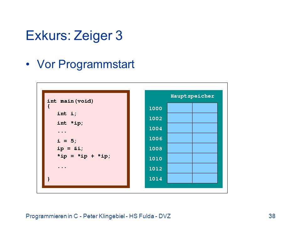 Programmieren in C - Peter Klingebiel - HS Fulda - DVZ39 Exkurs: Zeiger 4 Programmstart und Aufruf von main()