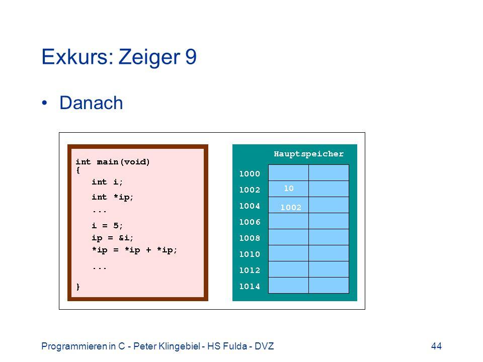 Programmieren in C - Peter Klingebiel - HS Fulda - DVZ45 Exkurs: Zeiger 10 Warum und wozu Zeiger?
