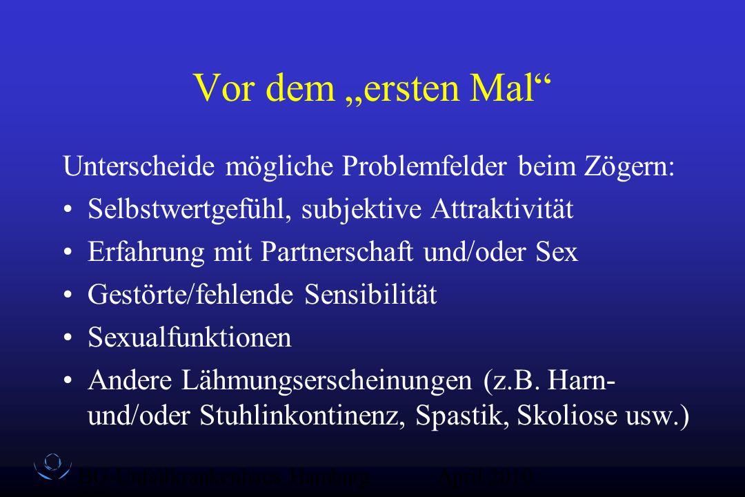 """BG-Unfallkrankenhaus Hamburg QZ-Sex April 2010 Vor dem """"ersten Mal"""" Unterscheide mögliche Problemfelder beim Zögern: Selbstwertgefühl, subjektive Attr"""