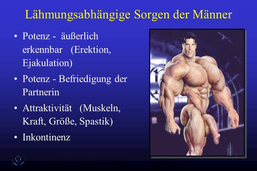 BG-Unfallkrankenhaus Hamburg QZ-Sex April 2010 Lähmungsabhängige Sorgen der Männer Potenz - äußerlich erkennbar (Erektion, Ejakulation) Potenz - Befri