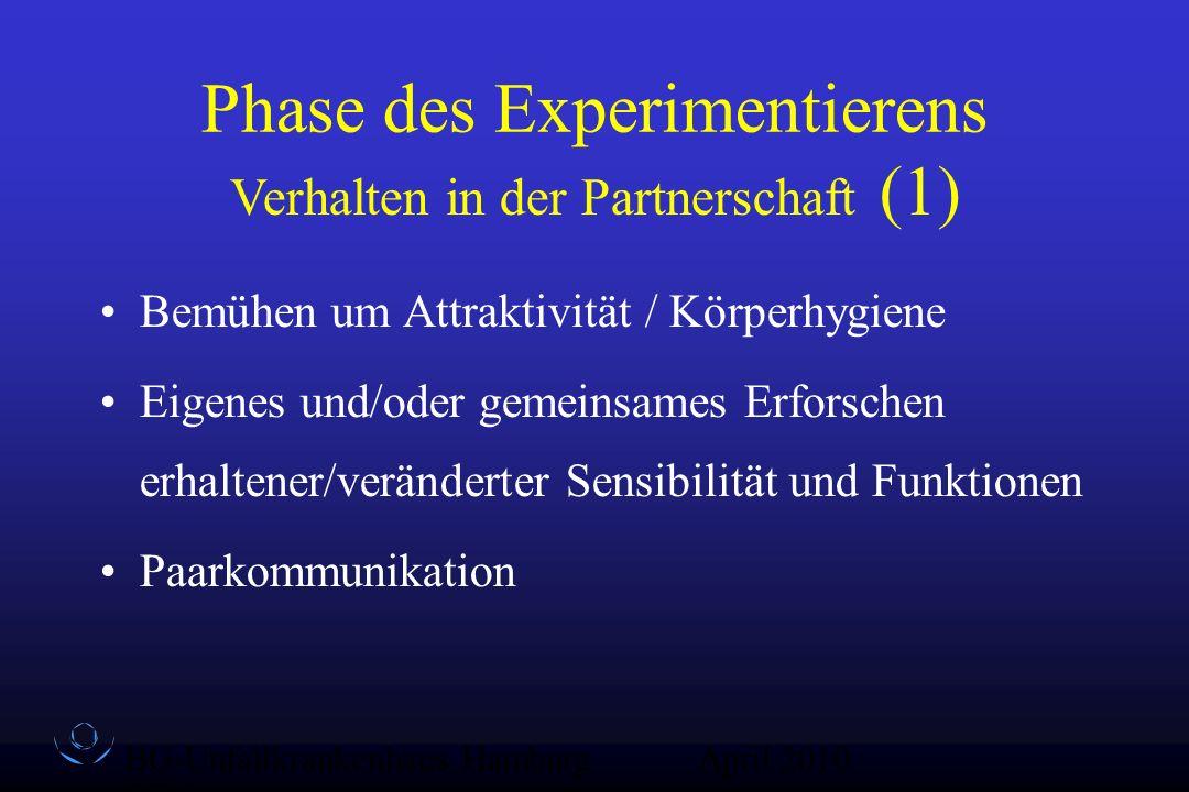 BG-Unfallkrankenhaus Hamburg QZ-Sex April 2010 Phase des Experimentierens Bemühen um Attraktivität / Körperhygiene Eigenes und/oder gemeinsames Erfors