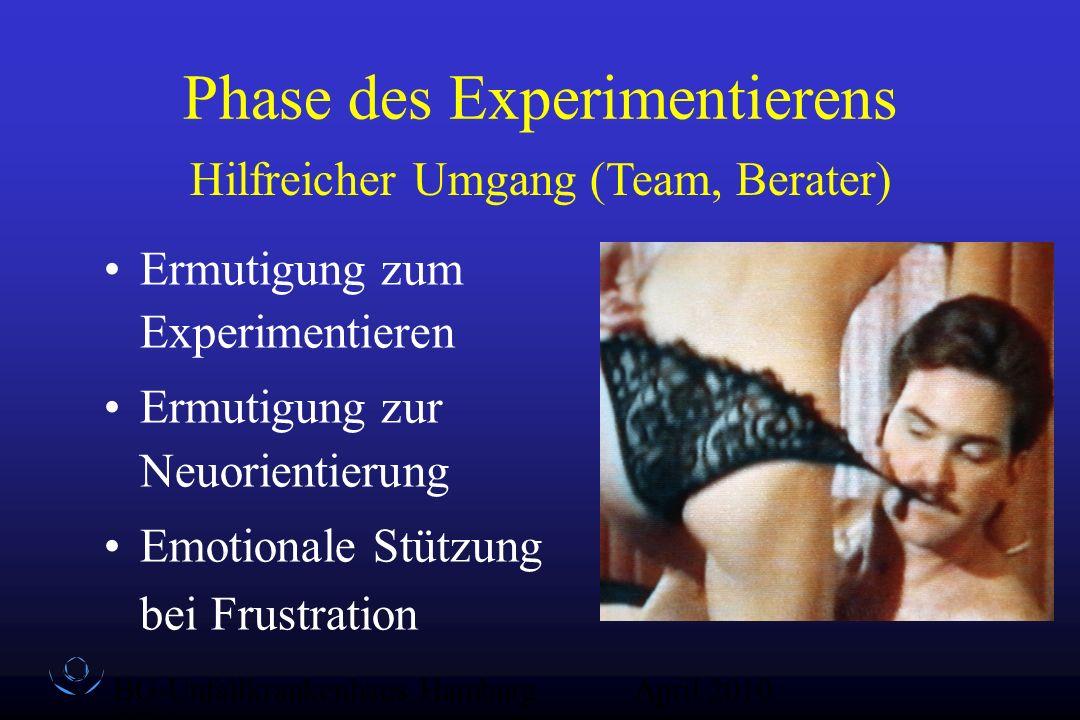 BG-Unfallkrankenhaus Hamburg QZ-Sex April 2010 Phase des Experimentierens Ermutigung zum Experimentieren Ermutigung zur Neuorientierung Emotionale Stü