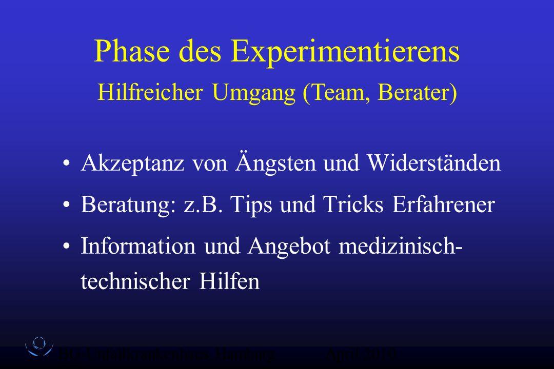 BG-Unfallkrankenhaus Hamburg QZ-Sex April 2010 Phase des Experimentierens Akzeptanz von Ängsten und Widerständen Beratung: z.B. Tips und Tricks Erfahr