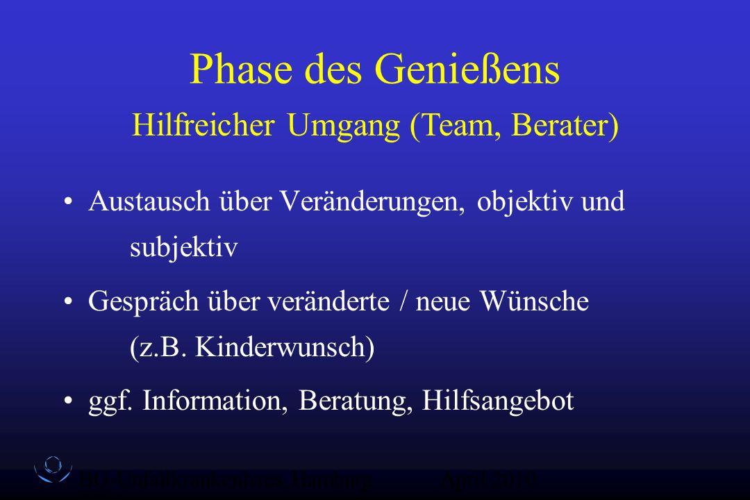 BG-Unfallkrankenhaus Hamburg QZ-Sex April 2010 Phase des Genießens Austausch über Veränderungen, objektiv und subjektiv Gespräch über veränderte / neu