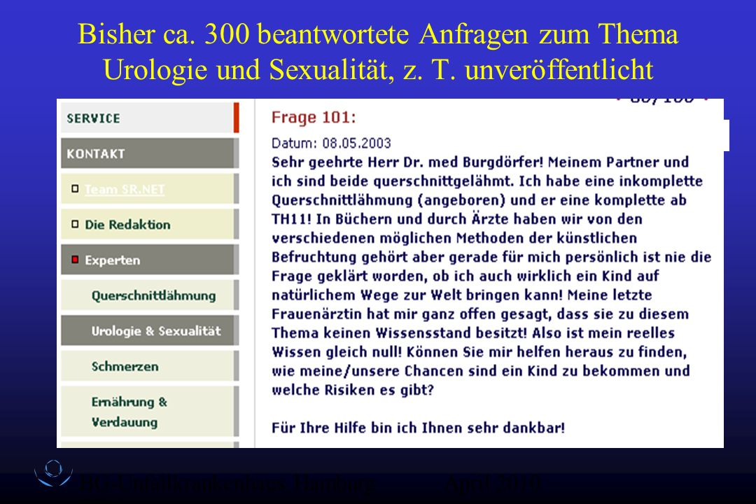BG-Unfallkrankenhaus Hamburg QZ-Sex April 2010 Bisher ca. 300 beantwortete Anfragen zum Thema Urologie und Sexualität, z. T. unveröffentlicht