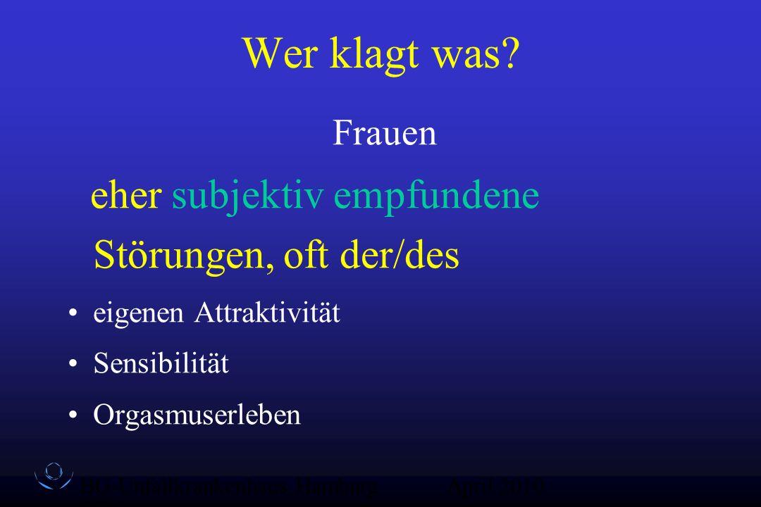 BG-Unfallkrankenhaus Hamburg QZ-Sex April 2010 Lähmungsabhängige Sorgen der Männer Potenz - äußerlich erkennbar (Erektion, Ejakulation) Potenz - Befriedigung der Partnerin Attraktivität (Muskeln, Kraft, Größe, Spastik) Inkontinenz